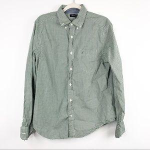 Nautica Green & White Gingham Button Down Shirt M